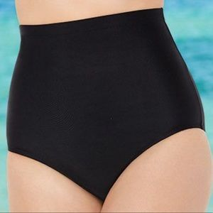 S4A | Plus Size Black High Waist Swim Bottoms